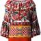 Dolce & gabbana mambo print peasant blouse, women's, size: 46, pink, silk/cotton