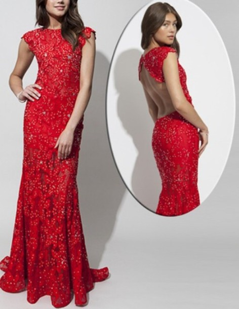 Dress: red dress, prom dress, lace, long prom dress, open back ...