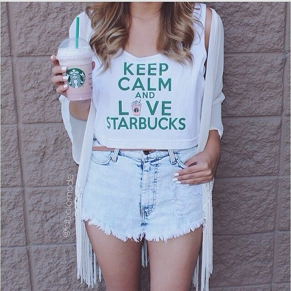 top crop tops starbucks coffee starbucks coffee white crop tops summer outfits summertime shorts