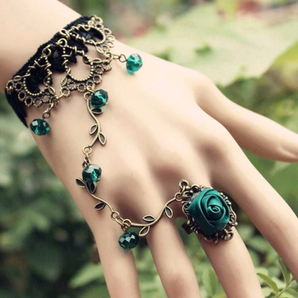 jewels green emerald green pretty bracelets chain ring ring bracelet