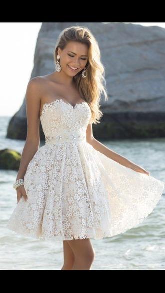 dress white lace flowy cute wedding lace dress white lace dress short
