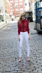 yael steren,blogger,shoes,jewels,sunglasses,nail polish,button up,long sleeves,burgundy,burgundy top,white jeans,skinny jeans,nude heels,aviator sunglasses,red shirt,lace shirt,pumps,nude pumps,high heel pumps