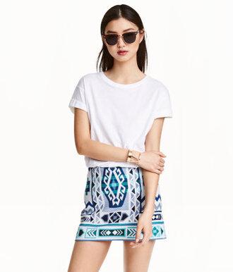 skirt aztec aztec skirt blue blue skirt