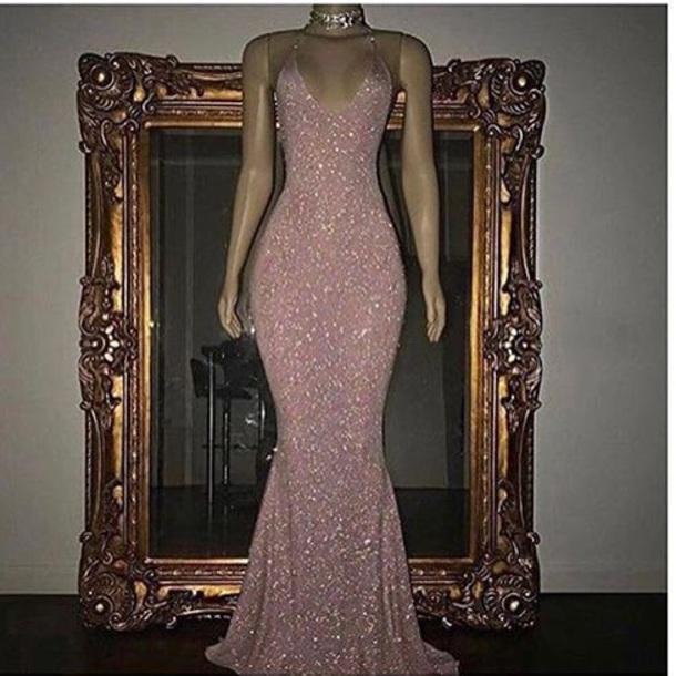 dress prom dress pink glitter dress