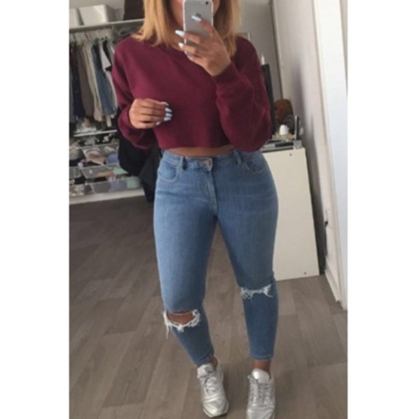 Top hoodie cropped crop tops jeans puma nike berryw berry wine red ripped jeans ...