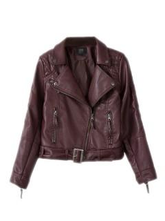 Leather biker jacket in red