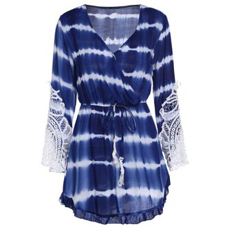 dress blue blue dress royal blue dress tie dye tie dye dress romper fashion style trendy long sleeves beach gamiss