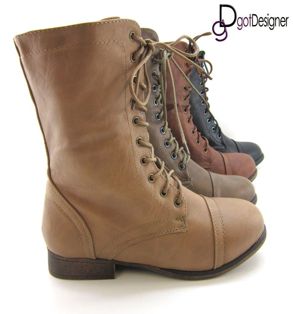 womens shoes combat boots motorcycle mid calf
