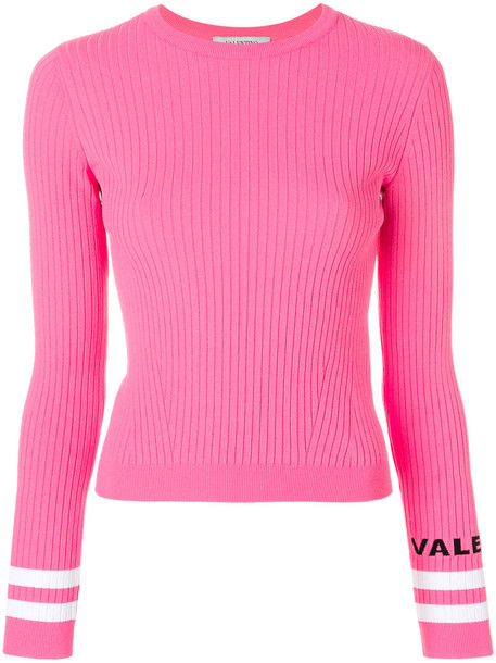 Valentino top ribbed top women purple pink