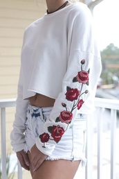 top,white,rose,roses,tumblr,instagram,floral,embroidered,rose embroidered