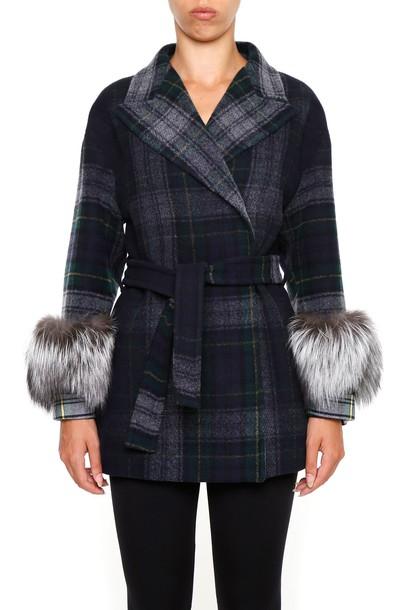 Prada coat fur tartan