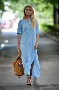 83d426c1 Zara Basic blue maxi shirt dress long tunic with slits Sz XS /MEX 24