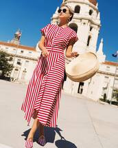 dress,maxi dress,stripes,red and white,long dress,summer,hat,straw hat,shoes,sunglasses