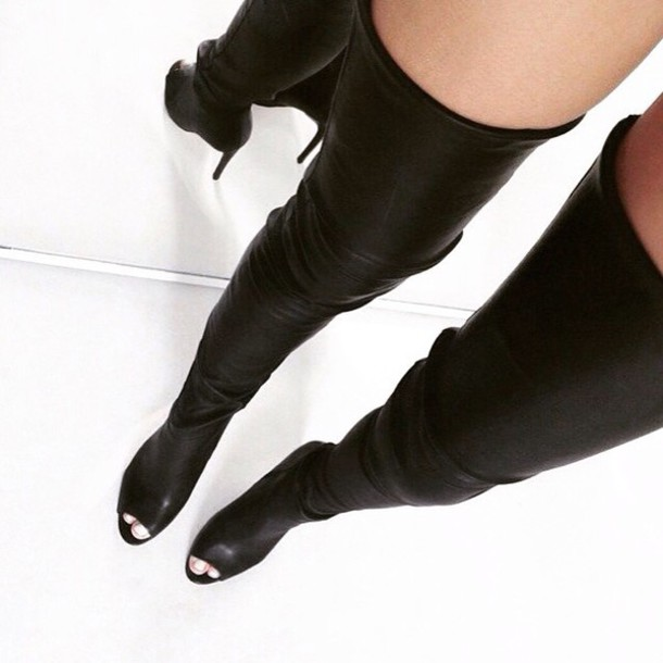 shoes black boots thigh high boots knee high boots leather thigh high boots thigh highs black heels thigh highs black leather wedges open toes open toes sandal boots boots black boots high heels boots fashion style cute high heels leather boots black leather black leather boots black thigh high boots leather
