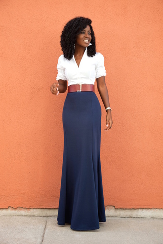 blogger shirt maxi skirt blue skirt medium-size belt