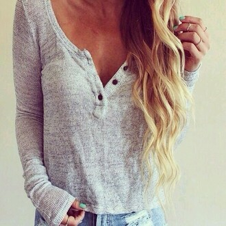 sweater light grey button button up loose comfy cozy long sleeves wide neck low neck shirt t-shirt cute chemise gray