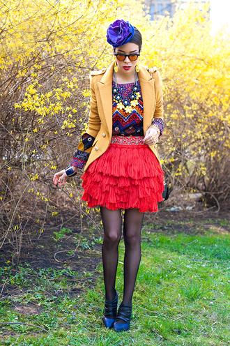 macademian girl jacket t-shirt skirt shoes sunglasses bag jewels