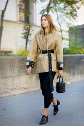 jacket,nude jacket,belt,bag,skirt,maxi skirt,black skirt,shoes,black shoes,handbag