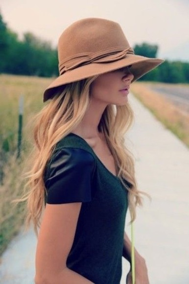 hat floppy hat suede felt brown caramel