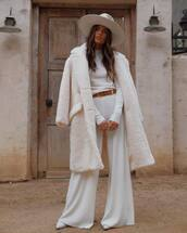 coat,wide-leg pants,rocky barnes,instagram,blogger,all white everything,teddy coat,pants