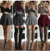 skirt,skater skirt,mini skirt,high waisted skirt,burgundy skirt,black skirt,grey skirt,plaid skirt,outfit,outfit idea,summer outfits,fall outfits,winter outfits,spring outfits,cute outfits,party outfits,date outfit,burgundy scarf,scarf,knitted scarf,top,black top,summer top,black crop top,cute top,crop tops,off the shoulder,off the shoulder top,grey top,long sleeves,long sleeve crop top,trendy,clothes,fashion,style,stylish,clubwear,streetwear,streetstyle,striped top,stripes,shoes,sexy shoes,cute high heels,cute shoes,cute skirt,party shoes,summer shoes,thigh high boots,thigh highs,boots,black boots,suede boots,winter boots,high heels boots,beige shoes,booties,ankle boots,waist belt,heels,high heels,black heels,black high heels,stockings