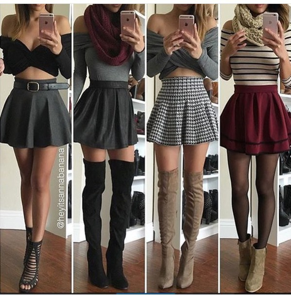 Skirt skater skirt mini skirt high waisted skirt burgundy skirt black skirt grey skirt ...