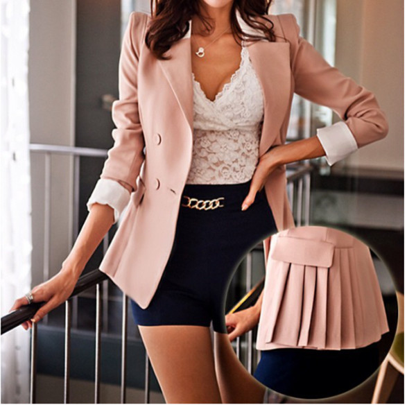 Women Pink Lapel OL Casual Suits Slim Pleated Blazers Coat Jacket ...
