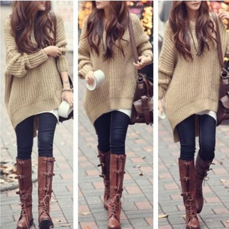 sweater shoes autumn/winter fall outfits oversized sweater leather boots brown leather boots winter outfits brown sweater hipster swag indian