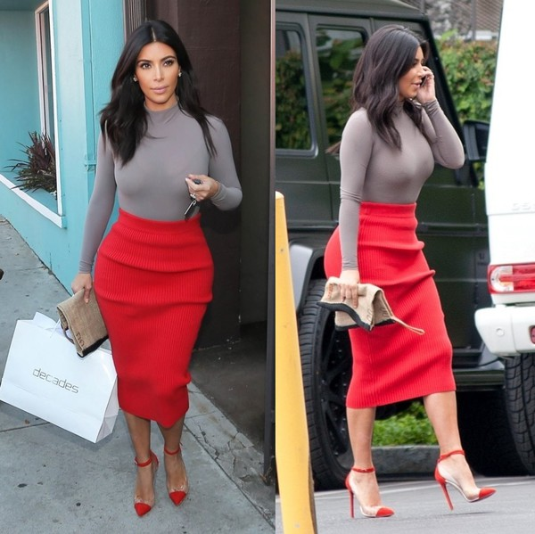 skirt top shoes kim kardashian alexander wang