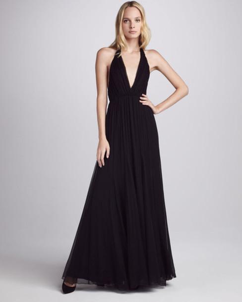 dress, maxi dress, black, black maxi dress, prom dress, alice+olivia ...