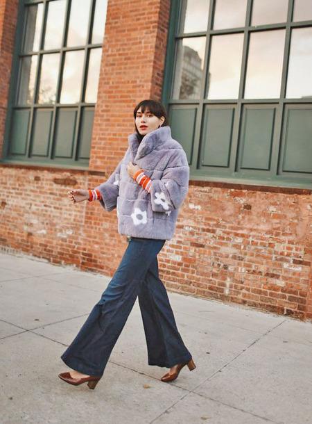 jacket tumblr lilac fur jacket faux fur jacket wide-leg pants jeans denim blue jeans shoes