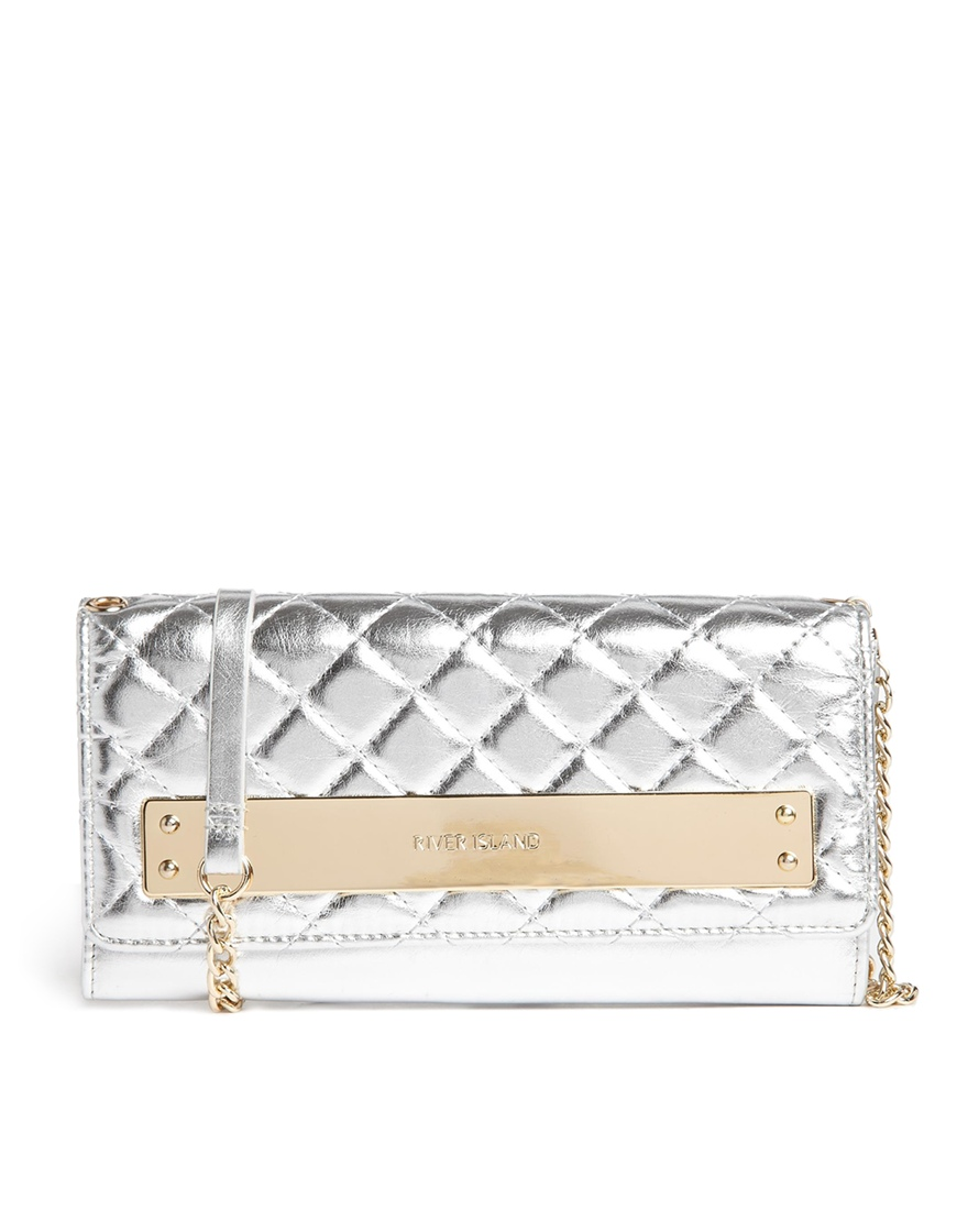 River Island Silver Metal Bar Foldover Purse with Cross Body Chain at asos.com