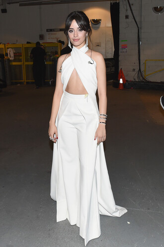 pants top camila cabello all white everything grammys wide-leg pants