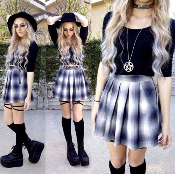 Skirt skater skirt skater plaid blue skirt blue grunge soft grunge summer outfits ...