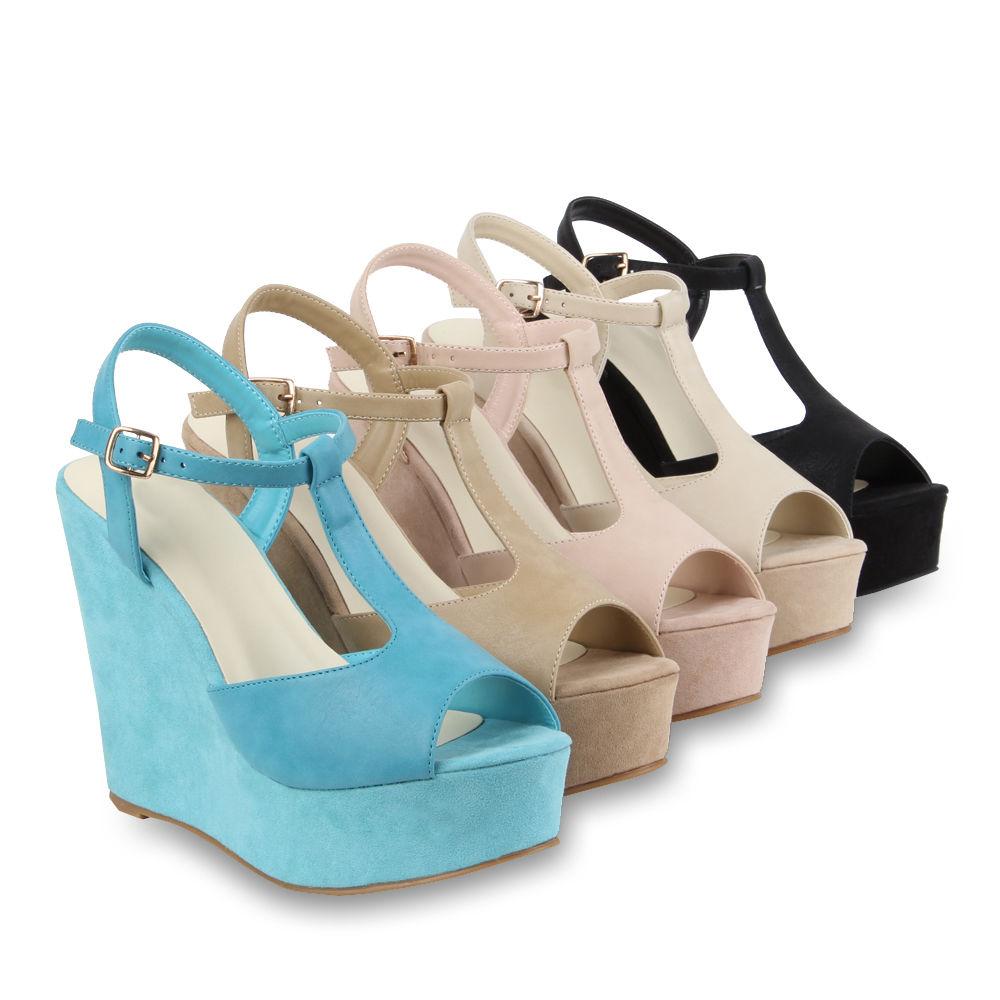 Damen Keilabsatz Sandaletten Keilsandaletten 70955 Schuhe Gr 36 41