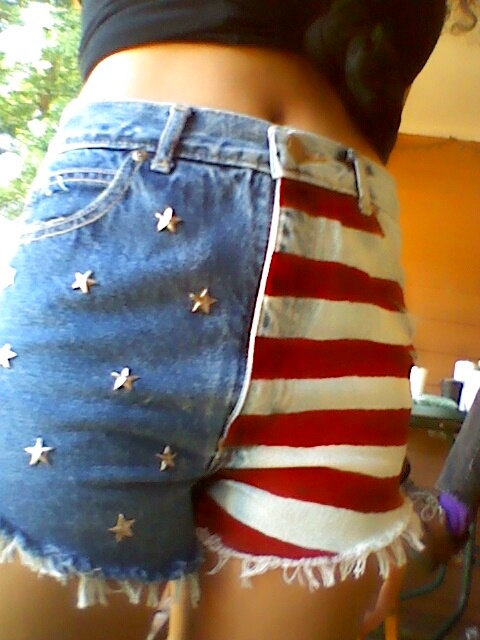 Jordache reconstructed american flag high waisted by wubbadubsellz