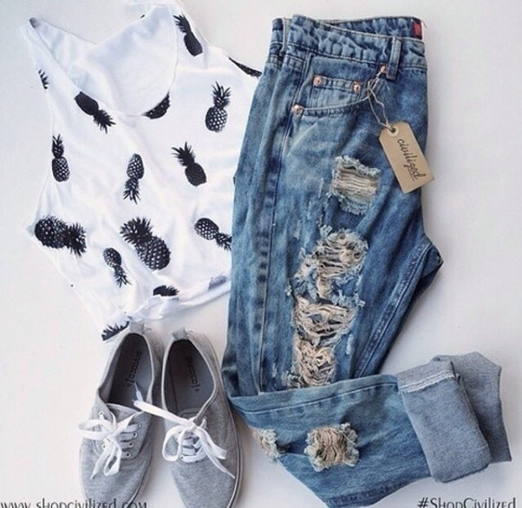 jeans ripped blouse pineapple print outfit