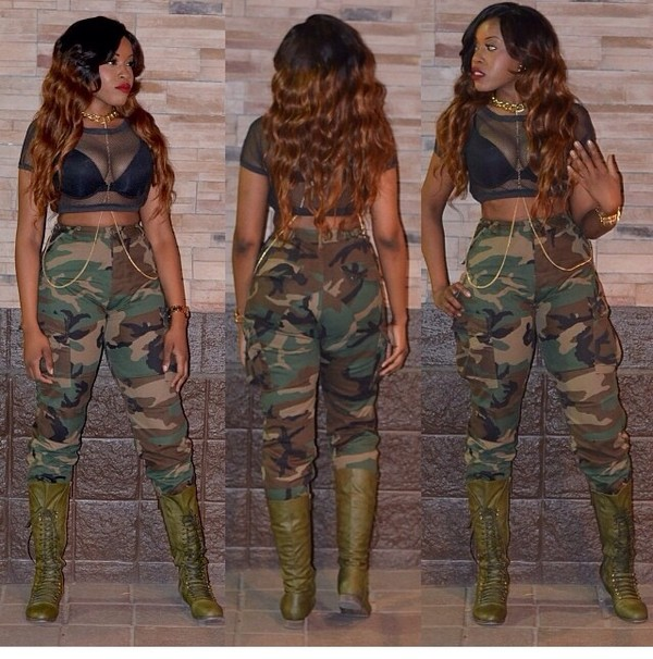 Army fatigue pants camouflage military high by jacknboots