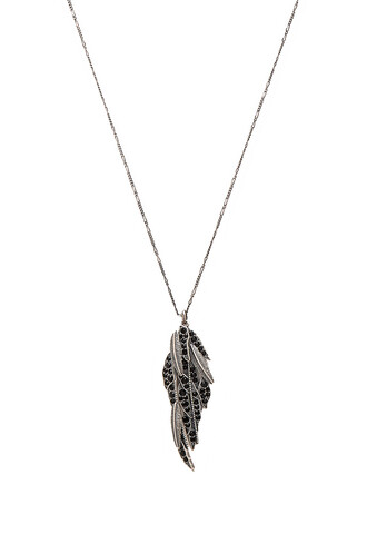 long dark necklace pendant metallic silver jewels