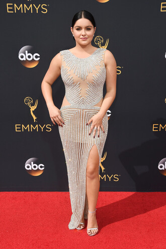 dress gown sparkle prom dress slit dress red carpet dress sandals ariel winter emmys 2016 beaded dress embellished dress sparkly dress