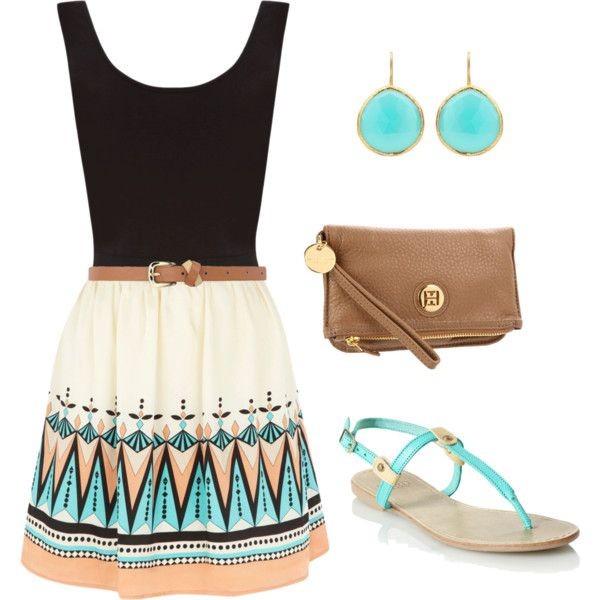 dress aztec summer dress blue sandals skirt tribal skirt tribal pattern bag purse orange cream black top blue tan tribal dress printed dress sandals