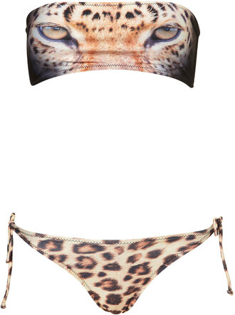 swimwear leopard cheetah cheetah print bandeau bikini leopard print top shop animal face print