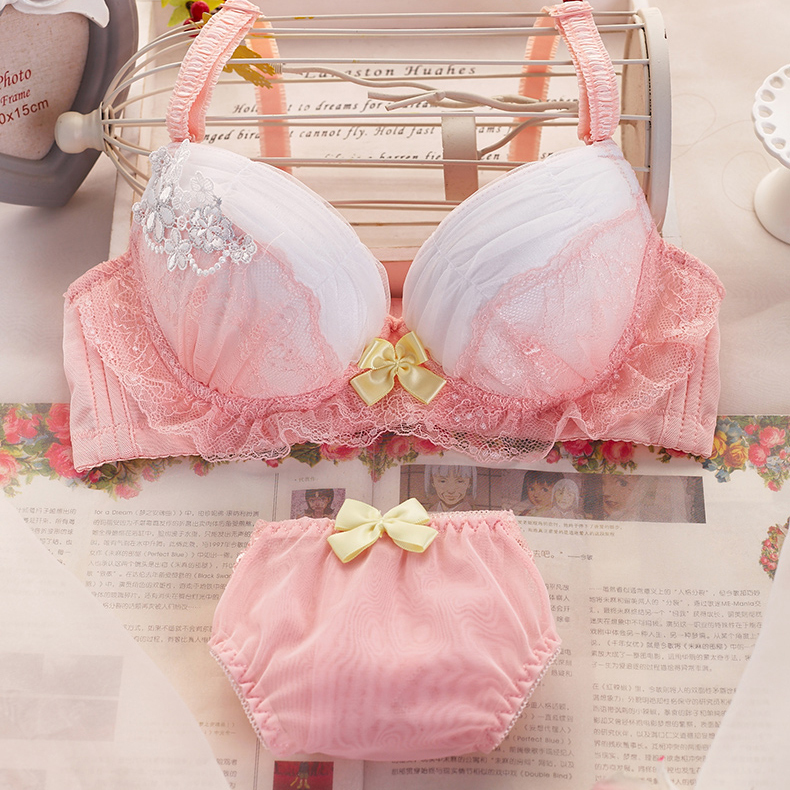 558a3e5d01 Newest Women Pink Lace Push Up Bra Sets Small chest gather adjustment type  thin cup lovely romatic ruffles underwear ...
