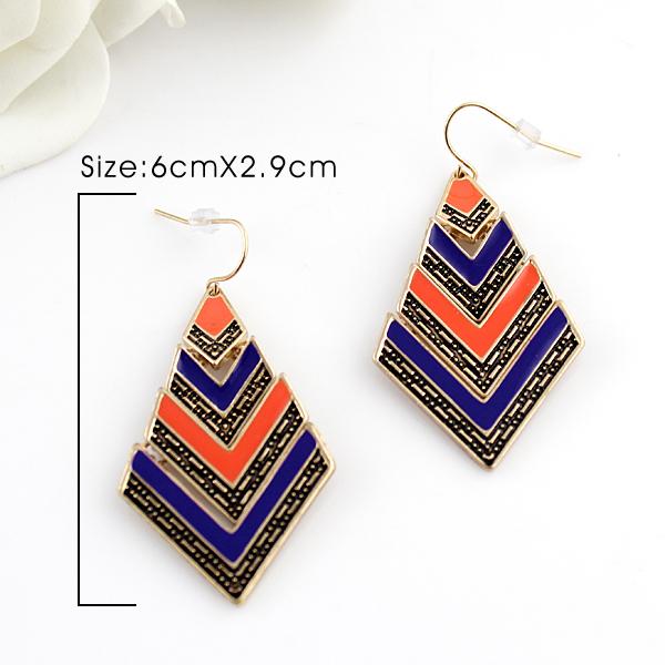 Blue Orange Stripe Vintage Gold Geometric Dangle Earrings - Sheinside.com
