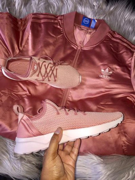 Jacket: adidas, satin, pink, rose, rose gold - Wheretoget