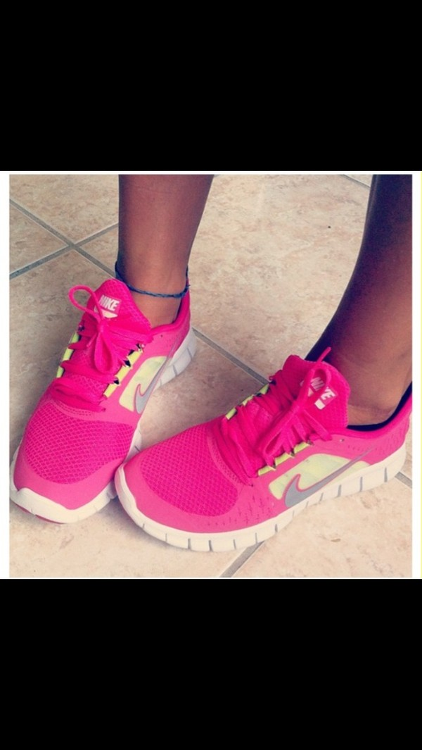 shoes nike nike free run yellow pink neon nice beautiful
