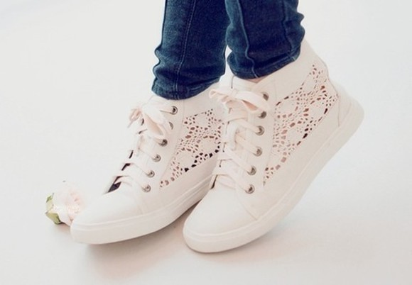 shoes white basket sneakers dentelle