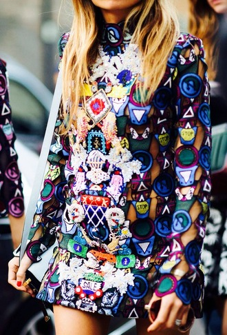 dress colorful dress mulit-color epic printed dress awesome! creative collective