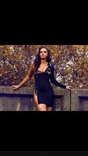 dress,lace,black,nude,one sleeve dress