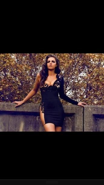 dress lace black nude one sleeve dress